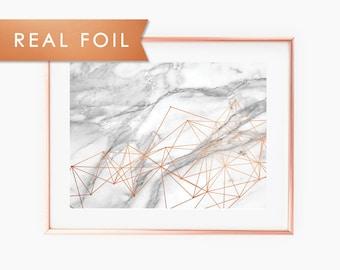 Marble Geo Mesh- Real Foil Art Print 11x14, 8x10, 5x7
