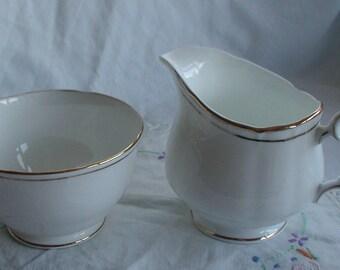 Elegant Duchess Bone China White with Gold Rim Milk Jug and Sugar Bowl