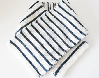 Baby knitted scarf hand - scarf Navy and white 1/3 month baby