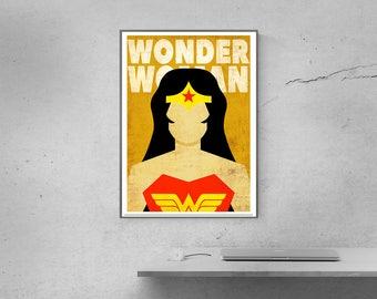 Wonder woman poster Superhero Posters Wonder Woman logo Minimalist Posters Home decor Office wall decor Christmas gift Superhero party