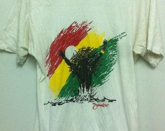 Vintage Bob Marley Jamaica Reggae Rasta Soft Cotton White