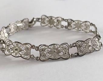 Vintage German 835 Silver Open Work Filigree Link Chain Bracelet