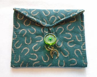 Good luck money mojo bag horseshoes on green handmade quilted