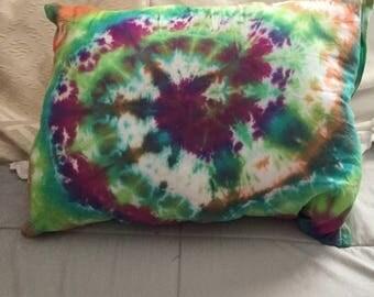 Swirl multicolor tie dye pillow