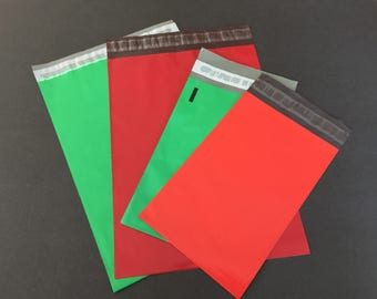 50 9x12 and 6x9 RED and GREEN Christmas Assortment Poly Mailers Self Sealing Envelopes Shipping Bags Christmas