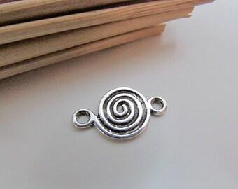5 connecteurs spirale 2.2 x 1.2 cm en métal couleur argenté antique - trou 3 mm- 99.18