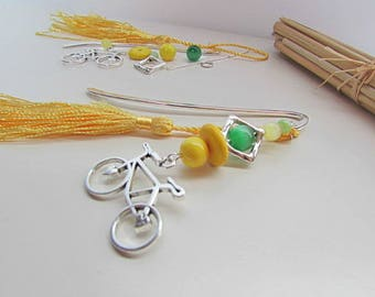 Kit bookmark in metal silver color - bike - yellow and Green Pearl - tassel - 131