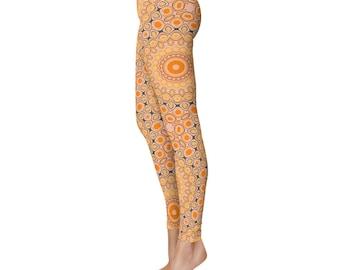 Autumn Leggings - Fall Inspired Orange Leggings, Kaleidoscope Pattern Funky Pants, Footless Tights, Creative Clothing