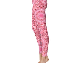 Adult Pink Leggings, Cute Printed Yoga Pants, Women's Yoga Apparel