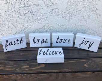 Wooden Word Blocks...Faith, Hope, Love, Joy, Believe