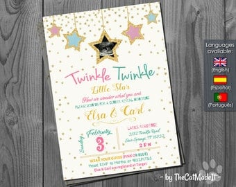 Twinkle Twinkle Little Star Invitation - Baby Shower - Gender Reveal - Pink & Blue Invite - customization with ultrasound pic - Digital file