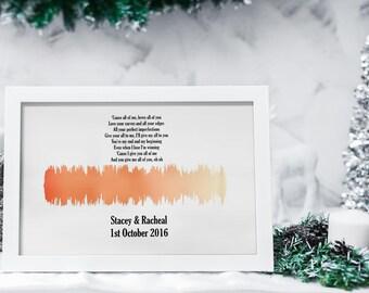 Personalised Soundwave Print, wedding anniversary print, wedding print, husband gift, personalised anniversary gift, 1st annoversary