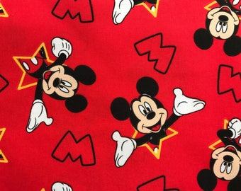 Disney red Mickey Mouse fabric, Disney fabric, Mickey fabric, kids fabric, cartoon fabric, Disney