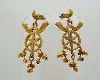 Bird and Acorn Dangle Earrings