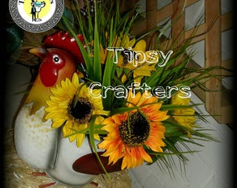 Rooster Centerpiece - Sunflower Centerpiece - SUMMER centerpiece