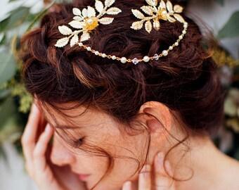 Bridal comb, comb, wedding jewelry head-swarovski crystals, headpiece, head accessories, Bridal, hair jewelry rose gold