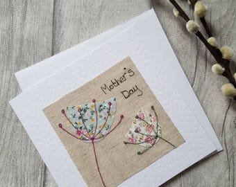 Mother's day card, Mothering Sunday, original textile card,  greeting card, textile artwork, handmade card, blank card, unique, pretty