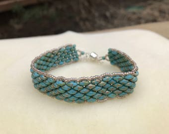 Turquoise colored Super Duo Beaded Bracelet
