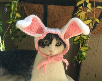Bunny hat for cats, rabbit, bunny, hats for cats,Easter hat,spring hat, cat hats,hand knit cat hats, pink bunny, rabbit ear hat,bunny ears