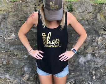 Jeep Hair Don't Care Tank (Black and Gold) - Scoop Neck Flowy Tank