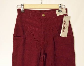 70s-80s JORDACHE NEW w tags corduroy high waist pants// Pleated baggy vintage tapered burgundy Deadstock NWT// 2 pairs xs 26 & small 27 2/4