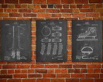 Hockey Wall Print, Patent canvas print, Hockey Art Print, Hockey Stick Art, Hockey Wall Art, Hockey Puck Patent, Hockey Art Set of 3