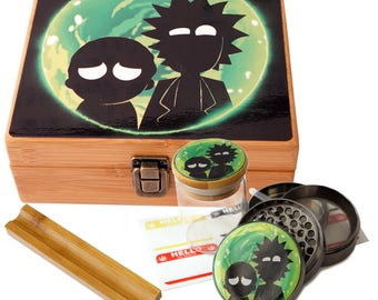 "Large Size Geometry Stash Box, 2.5"" Zinc Alloy Grinder,  Stash Jar, 6"" Rolling Tray - ALL IN ONE Box Package - Rick & Morty # LBCS020818-4"