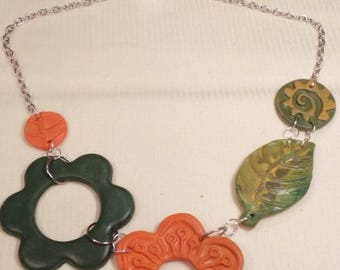 Handmade flower polymer clay necklace