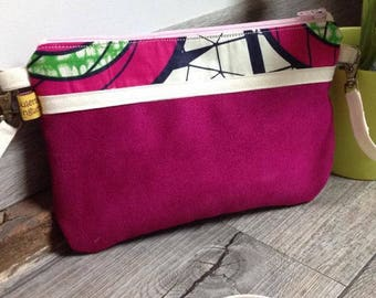 "The Pocket Moon, my purse suede ""Wax & Fuschia"""