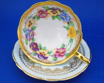 Royal Stafford china England PANSY Viola gold tea cup and saucer pastel blue