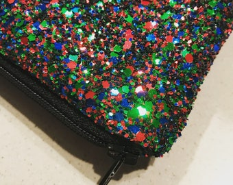 Green bag, red bag, evening glitter clutch, party bag, green clutch, red clutch
