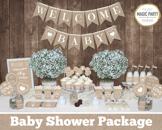 Rustic baby shower decorations printable gender neutral baby for Baby shower decoration set