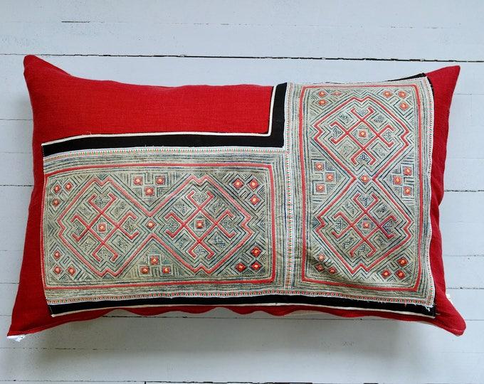 "Vintage Hmong Handmade Fabric Batik Textile Pillow 16"" x 26"""