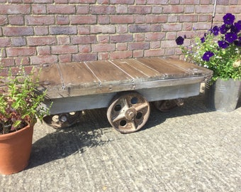 Vintage Industrial Trolley Coffee Table with Cast Iron Wheels