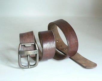 Vintage Brown Leather Belt 30 to 36 Inch Waist