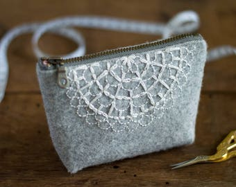 Zippered Pouch | Embroidered Pouch | Small Notion Pouch | Small Zippered Bag