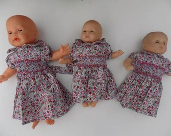 Dress flower dress smocking, cotton, pink, green, dress, Peter Pan collar, short sleeves, handmade clothing, doll, 30 cm / 36 cm / Doll clothing