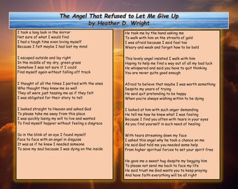 The Angel That Refused to Let Me Give Up - Printable Poetry Instant Download