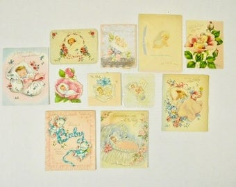 Lot of 11 Used Vintage 1940s and 1950s New Baby Boy Girl Child Infant Kids Greeting Cards Ephemera Crafting Framing Decor Ornaments