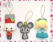 Set of Three Christmas Ornaments, Nutcracker, Mary, Mouse King, Decoration, Figurine, Doll, Handmade Christmas Felt Decor