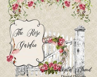 Pink Rose Clip-art, Shabby Rose Pink Garden Clip-art, Old Vintage Gate Shabby Chic Roses, Shabby Chic Rose Swag. No. WC89