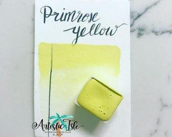 Primrose Yellow, Handmade Watercolor, yellow, handmade paint, organic, primrose