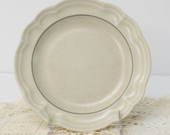 Discontinued Beige Gray White Stoneware 7.25 Inch Salad Plate in Heirloom by Pfaltzgraff
