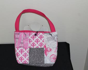 Paris themed patchwork handbag