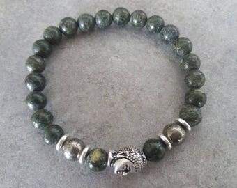 Bracelet énergétisé, well-being and balance in Jasper, African, PYRITE, silver zen Buddha