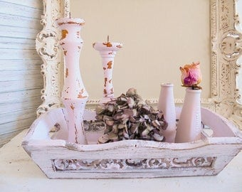 Shabby decorative pink tray tray candle holders-vases
