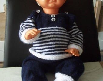 sailor, pants and booties - handmade knit baby newborn or reborn 50 cm