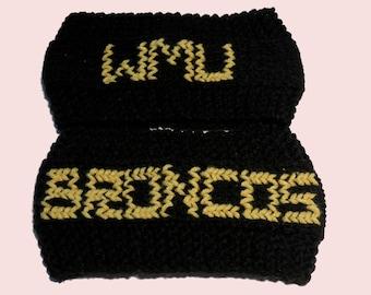 Western Michigan Broncos Ear Warmers, Knit Headbands, Unisex Ear Warmers, Knit Ear Warmers, Crocheted Headbands, Western Michigan University