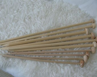 needles to knit made of beech wood