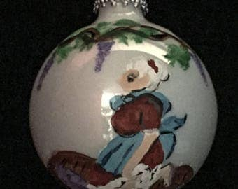 Little Wine Stomper, Hand Painted on a 3 Inch Christmas Ball